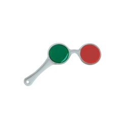 Face à main rouge-vert